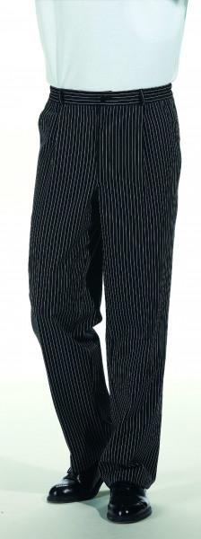 Koch-/ Servicehose, schwarz mit feinem Streifen