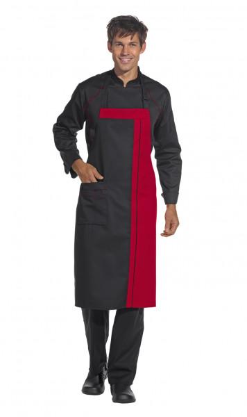 Leiber Latzschürze, stufenlos verstellbar, schwarz/rot